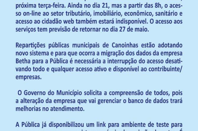 Sistema da prefeitura de Canoinhas não vai emitir notas fiscais e guias do setor de tributos entre 21 e 27 de maio