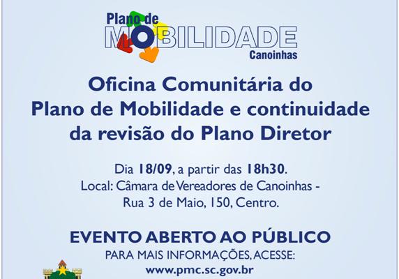 Amanhã tem oficina comunitária de diretrizes e propostas dos planos Diretor e de Mobilidade