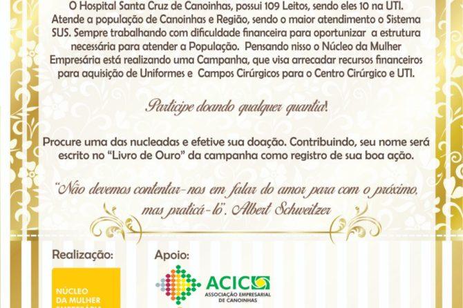 Núcleo da Mulher Empresária da ACIC realiza campanha em prol ao Hospital Santa Cruz de Canoinhas